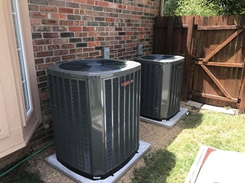 two outdoor ac units installed